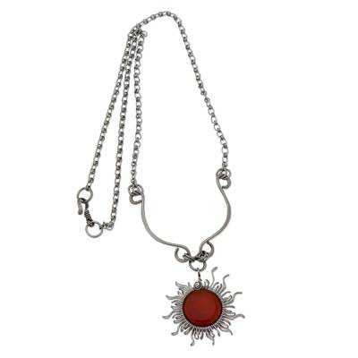Agate Sun-Themed Pendant Necklace from Brazil