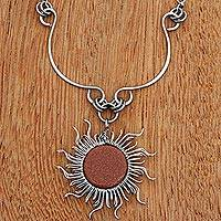 Sunstone pendant necklace, 'Sun Rays' - Handcrafted Sunstone Sun-Themed Pendant Necklace from Brazil