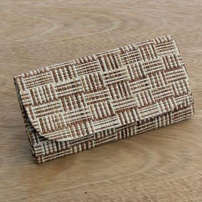 Palm leaf clutch, 'Thatched Stripes' - Handcrafted Striped Palm Leaf Clutch Handbag from Brazil