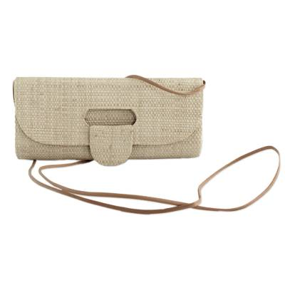Palm leaf baguette, 'Jungle Chic in Beige' - Handcrafted Palm Leaf Baguette in Beige from Brazil
