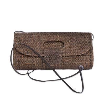 Palm leaf clutch, 'Jungle Chic in Sepia' - Handcrafted Palm Leaf Baguette in Sepia from Brazil