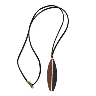Men's wood pendant necklace, 'Surf's Up' - Men's Brown Wood Pendant Necklace form Brazil