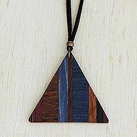 Wood pendant necklace, 'Transcendent Triangle' - Triangular Wood Pendant Necklace from Brazil