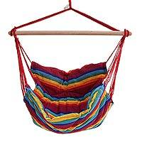 Cotton hammock swing, 'Jungle Rainbow' (single) - Single Multicolored Striped Cotton Hammock Swing from Brazil