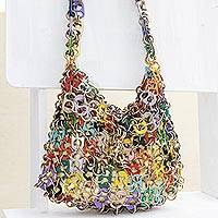 Soda pop-top hobo bag, 'Shimmery Multicolor' - Recycled Multicolored Soda Pop-Top Hobo Bag from Brazil