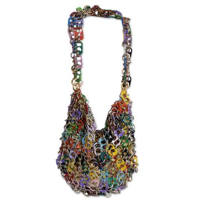 Recycled Multicolored Soda Pop-Top Hobo Bag from Brazil