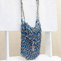 Zipper shoulder bag, 'Blue Treasure' - Recycled Brass Zipper Shoulder Bag in Blue from Brazil