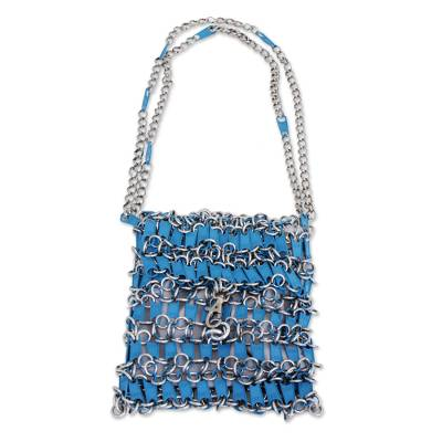 Recycled Zipper Pull Shoulder Bag in Blue from Brazil