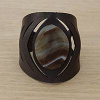 Agate wristband bracelet, 'Brown Eye' - Agate and Leather Wristband Bracelet in Brown from Brazil