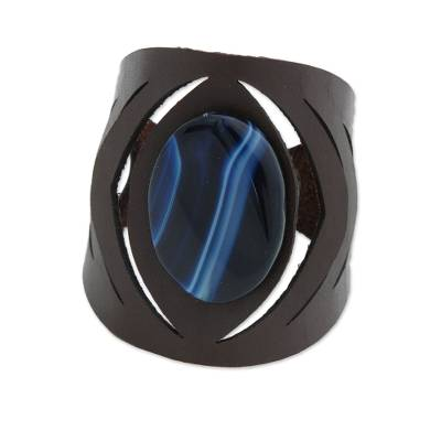 Agate and Leather Wristband Bracelet in Blue from Brazil