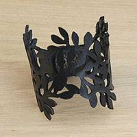 Leather wristband bracelet, 'Brazilian Foliage in Black' - Leaf Motif Leather Wristband Bracelet in Black from Brazil