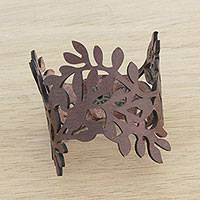 Leather wristband bracelet, 'Brazilian Foliage in Nutmeg' - Leaf Motif Leather Wristband Bracelet in Nutmeg from Brazil
