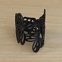 Leather wristband bracelet, 'Brazilian Butterfly in Black' - Butterfly-Themed Leather Wristband Bracelet from Brazil