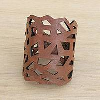Leather wristband bracelet, 'Brazilian Geometry in Nutmeg' - Geometric Leather Wristband Bracelet in Nutmeg from Brazil