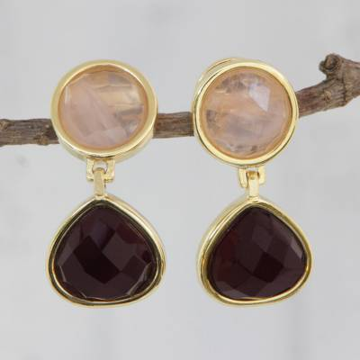 Gold plated amethyst and rose quartz dangle earrings, 'Equilibrium' - Gold Plated Amethyst and Rose Quartz Earrings from Brazil