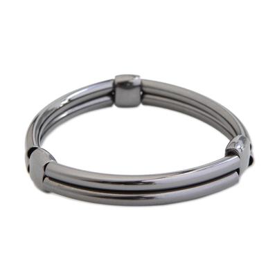 Stainless steel stretch wristband bracelet, 'Modern Dignity' - Stainless Steel Stretch Wristband Bracelet from Brazil