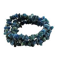 Apatite beaded stretch bracelets, 'Naturally Oceanic' (set of 3) - Set of Three Apatite Beaded Stretch Bracelets from Brazil