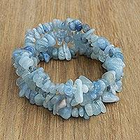 Aquamarine beaded stretch bracelets, 'Naturally Aqua' (set of 3) - Set of Three Aquamarine Beaded Stretch Bracelets from Brazil