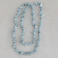 Aquamarine beaded necklace, 'Aqua Infatuation' - Natural Aquamarine Beaded Necklace from Brazil