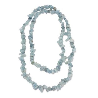 Natural Aquamarine Beaded Necklace from Brazil