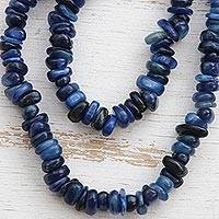 Kyanite beaded long necklace, 'Deep Infatuation' - Natural Blue Kyanite Beaded Long Necklace from Brazil