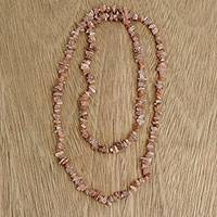 Moonstone beaded necklace, 'Earthen Infatuation' - Natural Moonstone Beaded Necklace from Brazil