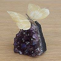 Gemstone sculpture, 'Honeyed Butterfly' - Gemstone Butterfly Sculpture in Honey Calcite and Amethyst