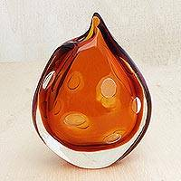 Handblown art glass vase, 'Molten Lava' - Amber and Crystalline Round Blown Glass Vase