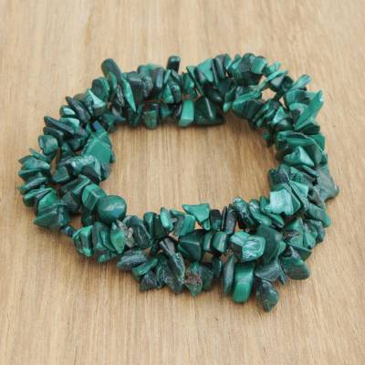 Malachite beaded stretch bracelets, Green Trio (set of 3)