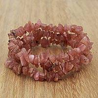 Rhodochrosite beaded stretch bracelets, 'Glistening Cave' (set of 3) - Three Rhodochrosite Beaded Stretch Bracelets from Brazil