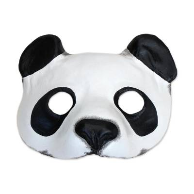 Handcrafted Leather Panda Mask from Brazil
