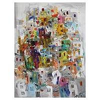 'Shantytown Colors of Happiness' - Signed Colorful Abstract Painting from Brazil