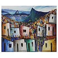 'Wonderful City' - Colorful Urban Painting of a Rio de Janeiro Favela