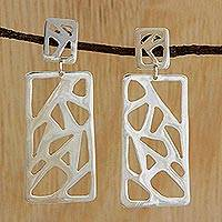 Silver dangle earrings, 'Gleaming Rectangles' - Rectangular Silver Dangle Earrings from Brazil