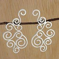 Silver drop earrings, 'Fantastic Clouds' - Spiral Motif Silver Drop Earrings Crafted in Brazil
