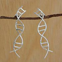 Silver drop earrings, 'Gleaming DNA' - Silver DNA-Shaped Drop Earrings from Brazil