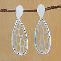 Silver drop earrings, 'Drops Within Drops' - Drop-Shaped Silver Drop Earrings from Brazil
