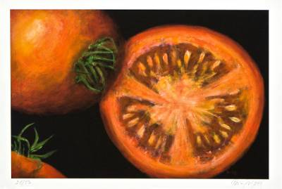 Giclee print on card stock, 'Tomato Halves' - Still Life Giclee Print on Paper from a Brazilian Artist