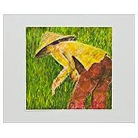Giclee print on card stock, 'Gigantic Harvester' - Signed Expressionist Giclee Portrait Print on Paper
