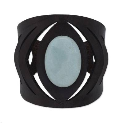 Amazonite and Leather Wristband Bracelet from Brazil