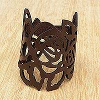 Leather wristband bracelet, 'Brazilian Flowers in Chocolate' - Floral Leather Wristband bracelet in Chocolate from Brazil