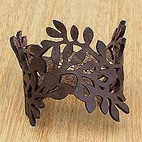 Leather wristband bracelet, 'Brazilian Foliage in Espresso' - Leafy Leather Wristband Bracelet in Espresso from Brazil