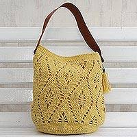 Cotton bucket bag, 'Diamond Crochet in Daffodil' - Crocheted Cotton Bucket Bag in Daffodil from Brazil