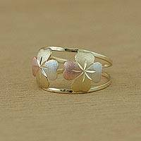 Gold cocktail ring, 'Good Luck Leaves' - 10k Gold Four-Leaf Clover Cocktail Ring from Brazil