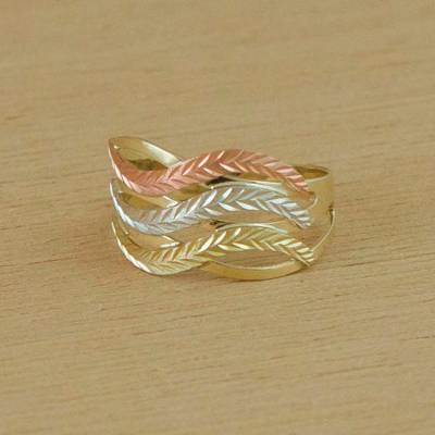 Gold cocktail ring, 'Tricolor Waves' - 10k Gold Wave Motif Cocktail Ring from Brazil