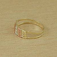 Gold cocktail ring, 'Parallel Bars' - Handcrafted 10k Gold Cocktail Ring from Brazil