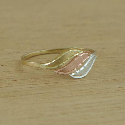 sterling silver jewelry necklaces ebay - Handcrafted Wavy 10k Gold Cocktail Ring from Brazil