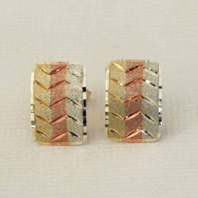 Gold drop earrings, 'Zigzag Elegance' - Tricolor 10k Gold Drop Earrings from Brazil