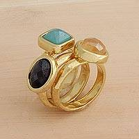 Gold plated multi-gemstone stacking rings, 'Colored Trio' (set of 3) - Three Gold Plated Multi-Gemstone Stacking Rings from Brazil