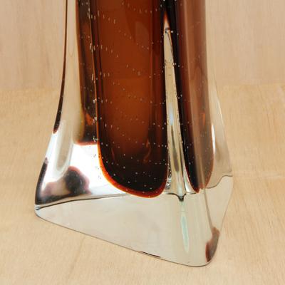 Handblown Art Glass Decorative Vase In Brown From Brazil Earthen Splash Novica